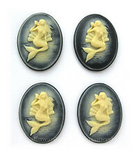on Black Vertical 40mm x 30mm Cameos 4 Ivory color Sea Siren Mermaid & Seashell
