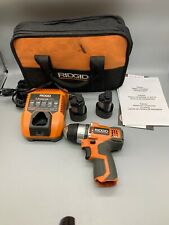 "Ridgid 3/8"" Cordless Drill  R82007 12V with 2 Batteries Good Used Condition"