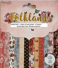 DOVECRAFT PREMIUM  FOLKLAND PAPERS - 6 X 6 SAMPLE PACK  - 12 SHEETS