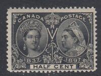 """Canada MINT NG Scott #50  1/2 cent black """"Diamond Jubilee""""   F"""
