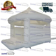 16x13ft Inflatable White Wedding Bouncer House Event Party With Air Blower