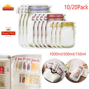 20/10Pc Mason Jar Bottles Bag Reusable Airtight Seal Food Storage Leakproof Food