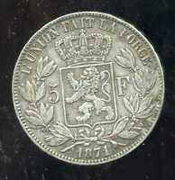 BELGIQUE 5 francs 1871  LEOPOLD II     ARGENT