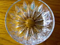 Round Crystal Bowl with Tulip Shaped Flowers and Leaves~ Very Color Reflective