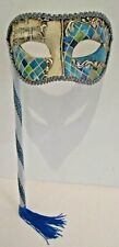 MAR101M HANDMADE IN ITALY, HANDHELD, PAPIER MACHE PARTY MASK  BLUE/SILVER.