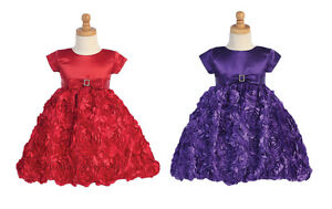 New Toddler Kids Girls Satin Dress Christmas Pageant Holidays Birthday Party 936