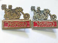 "Norton ""2 Riders"" Motorcycle Pin Badge   (Choice of 1-Silvertone or Goldtone)"