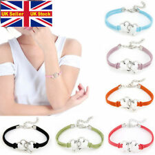 Double heart strand clip bracelet bangle love women gift ladies colour silver UK
