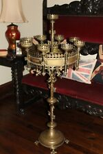 Antique French LARGE Brass Gothic Church Paschal Altar Candelabra Candle Holder