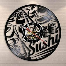 Japanese foodie sushi roll wall clock sashimi sushi bar vintage vinyl record