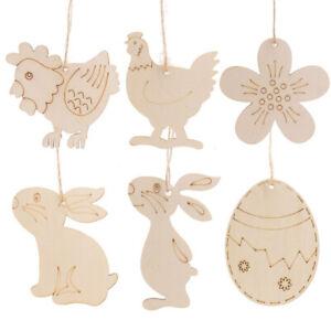 10pcs Home Decorations DIY Easter Ornaments Wood Crafts Cute Bunny Easter Rabbit
