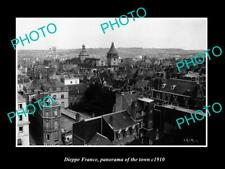 OLD POSTCARD SIZE PHOTO DIEPPE FRANCE PANORAMA OF THE TOWN c1910