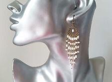"""Superbe 3"""" long antique-vintage ton or & faux perle boucles d'oreilles pendantes"""