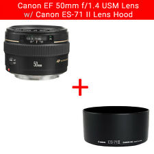 Canon EF 50mm F/1.4 USM Lens w/ Canon ES-71II Lens Hood - BUNDLE