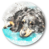 Watercolor Style Dachshund Portrait Sandstone Car Coasters - Matching Pair