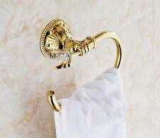 Golden Brass Bathroom Towel Rack Holder Embossed Towel Ring Ti-PVD Towel Bar