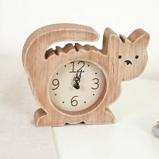 Cute Children's Kids Novelty Rustic Cat Wooden Desk Table Clock
