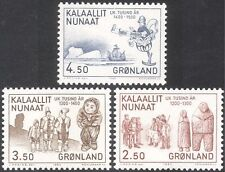Greenland 1983 History/Ship/Trade/Carving/People/Explorers 3v set (n43675)