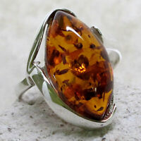 LOVELY NATURAL BALTIC AMBER 925 STERLING SILVER RING SIZE 5-10