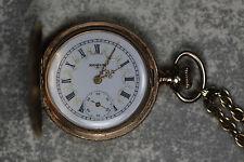 Antique Elgin 14k Solid Gold Hunter Pocket Watch Fancy Dial and Design
