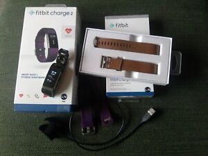 Fitbit Charge 2 tracker, leather strap, bracelet strap