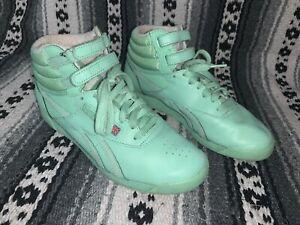reebok classic high top womens mint green / teal