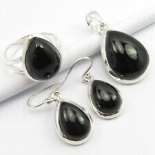 """Set ! 925 Silver Authentic Black Onyx Ring Size 9, Pendant 1.3"""" Earrings 1.1"""""""
