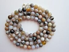 """33"""" Long Natural Bamboo Agate Gemstone Beads Necklace."""