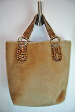 MAURIZIO TAIUTI Italy Beige Calf Hair Cowhide Leather Bucket Tote Gold Hardware