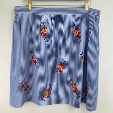 Flying Tomato Midi Skirt 2x A Line Pleated Blue White Stripe Floral Embroidery