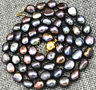 Rare! 9-10MM black Akoya Cultured Pearl Necklace Baroque 18""