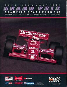Laguna Seca Raceway Auto Race Program 10/1988-CART Indy car-Rahal-VF
