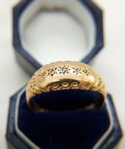 VICTORIAN 18CT GOLD DIAMOND BAND RING SIZE N, WEDDING ETERNITY, 18K, ANTIQUE