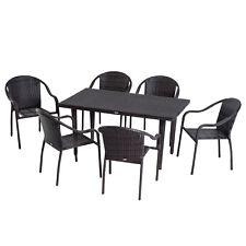 Outsunny Set Tavolo da Pranzo e 6 Sedie Intrecciato con Rattan Giardino Esterno