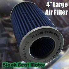 "Black Beat Motor 4"" 102mm Inlet Universal Cone Blue Air Filter - Truck Sport Car"