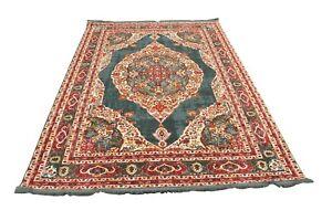 Vintage Distressed Faded PinkTeal  Antique Modern Multicolour Turkish Rug Carpet