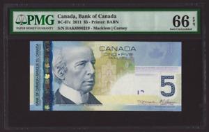 Canada 🇨🇦 2011 - $5 Dollars Macklem Carney Sig. - PMG Gem UNC 66 EPQ
