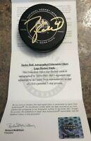 Taylor Hall Edmonton Oilers Autograph NHL Offical Game Puck UDA Upper Deck COA