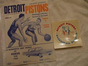 1960 BASKETBALL PROGRAM DETROIT PISTONS VS. PHILADELPHIA WARRIORS  AND DECAL