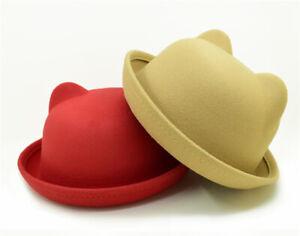 Women Cute Fedora Hat Hats for Woman Lovely Cat Ear Fedoras Fascinator Girls Cap