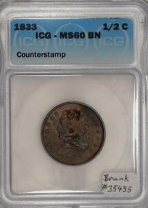 1833 Half Cent; S.M Counterstamp, Brunk #35455; ICG MS-60 BN!