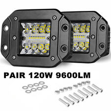 2x 5'' 240W LED Work Light Bar Flood Square Truck Offroad Cube Flush Mount Pods