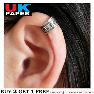 SILVER PLATED AZTEC CARTILAGE UPPER HELIX EAR CUFF CLIP-ON WRAP EMO PUNK EARRING