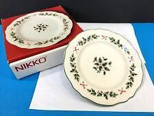 NIKKO Bells and Holly Set of 4 Salad /Dessert Christmas Plate China