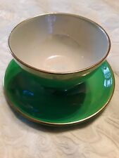 Art Deco Carlton Ware grapefruit dish, green, with pearl glaze.