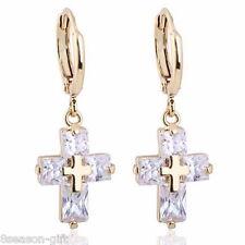 HX 1Pair 18k Gold Plated Hoop Dangle Earrings White Cross Zircon 3.0x1.1cm