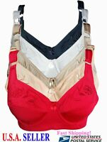 Lot 6 Pack Plus Size Bras Full Coverage Underwire Floral 38 40 42 44 46 48 D