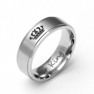 Ring Size7 Titanium King His Queen Stainless Steel Jewelry Band Classic Couple