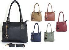Women Large Pu Leather Multi Pocket Fashion Shoulder Handbag Purse With Charm UK