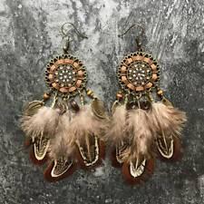 Women Boho Style Earrings Retro Drop Dangle Long Tassel Feather Hook Earring